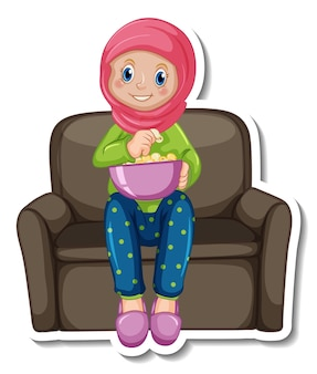 A sticker template with muslim girl sitting on sofa