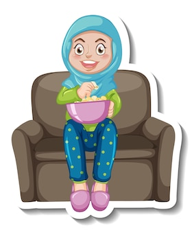 A sticker template with a muslim girl sitting on sofa