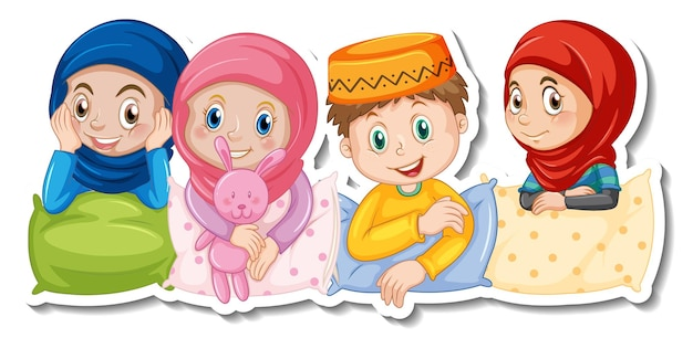 A sticker template with muslim kids in pajamas costume