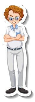 Un modello di adesivo con un uomo nerd in posa in piedi