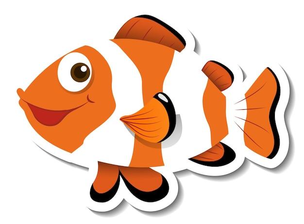 Шаблон стикера с изолированным персонажем мультфильма рыба-клоун ocellaris