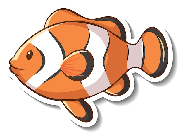 Sticker template with ocellaris clownfish cartoon character isolated