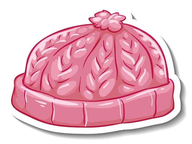 Un modello di adesivo con un berretto rosa isolato