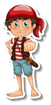 Modello di adesivo con un personaggio dei cartoni animati del ragazzo pirata isolato