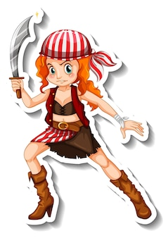 Modello di adesivo con un personaggio dei cartoni animati della ragazza pirata isolato