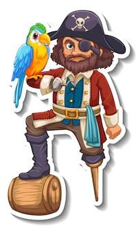 Modello di adesivo con un personaggio dei cartoni animati dell'uomo pirata isolato