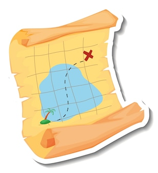 分離された海賊の宝の地図とステッカーテンプレート
