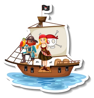 A sticker template with pirates on the ship isolated