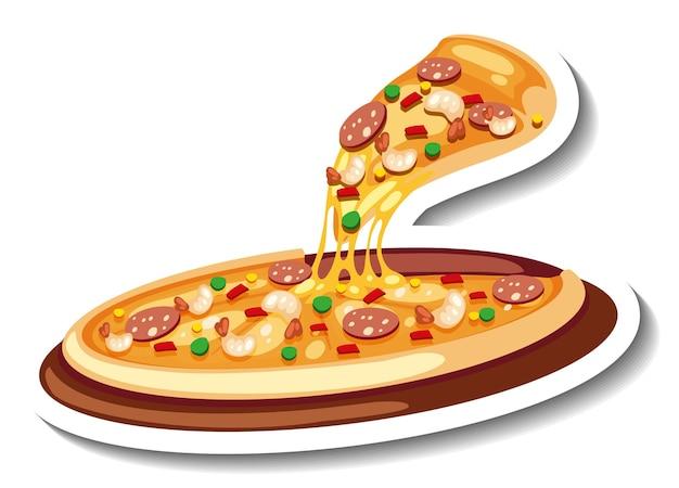 分離されたピザとステッカーテンプレート