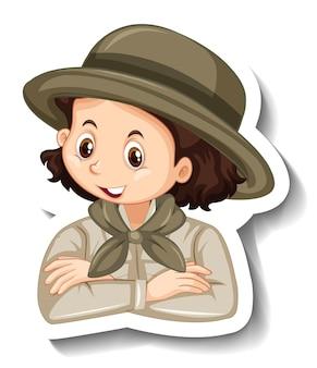 Un modello di adesivo con il ritratto di una ragazza in costume da safari personaggio dei cartoni animati