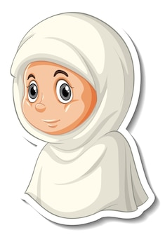 A sticker template with portrait of a muslim girl cartoon character