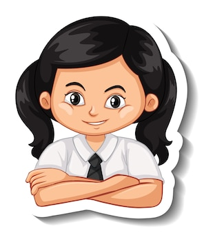 A sticker template with portrait of a student girl in school uniform