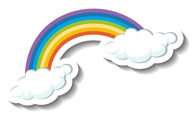 Un modello di adesivo con arcobaleno e nuvole isolate