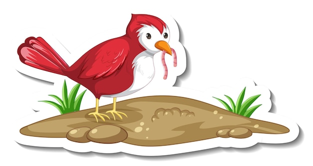 Sticker template with a red bird eating worm on white background