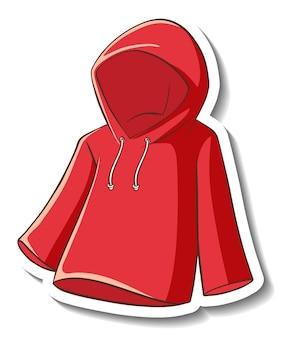 Un modello di adesivo con una felpa con cappuccio rossa isolata
