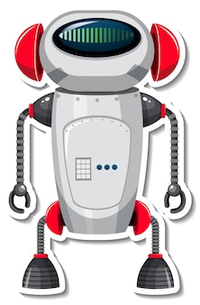 Sticker template with robot in cartoon style