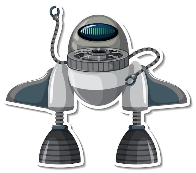 Modello di adesivo con robot in stile cartone animato