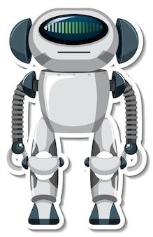 漫画スタイルのロボットとステッカーテンプレート