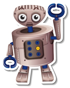 A sticker template with robot toy cartoon character isolated