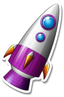 A sticker template with rocket ship cartoon isolated