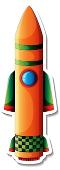 A sticker template with rocket space cartoon isolated