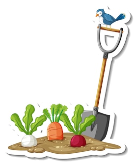 Sticker template with root vegetables and shovel isolated