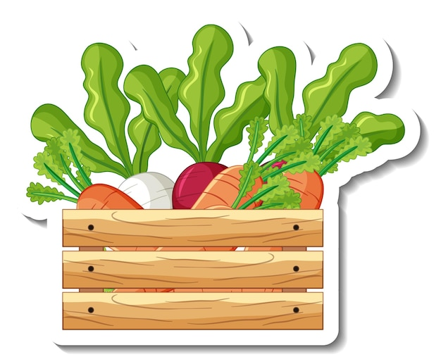 Sticker template with root vegetables in wooden box