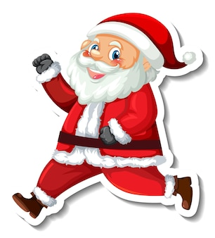 Sticker template with santa claus cartoon character isolated
