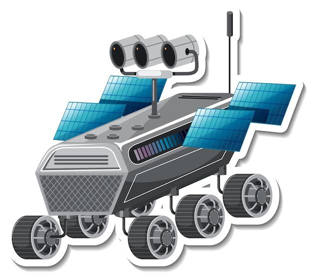 Modello di adesivo con satellite in stile cartone animato isolato
