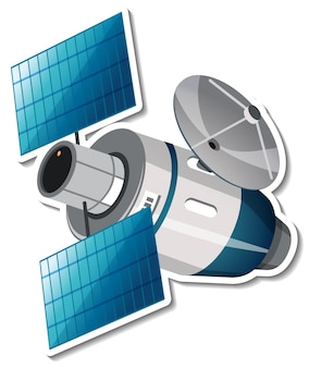 Sticker template with satellite in cartoon style isolated