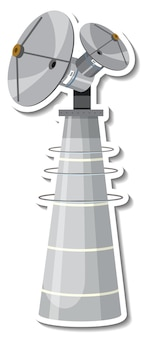 分離された漫画スタイルの衛星とステッカーテンプレート