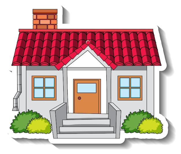 Modello di adesivo con una casa isolata