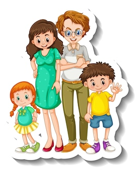 A sticker template with small family members cartoon character
