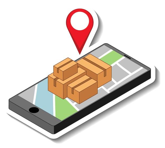 Un modello di adesivo con uno smartphone che mostra il perno situato sulla mappa