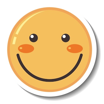 A sticker template with smile face emoji isolated Free Vector