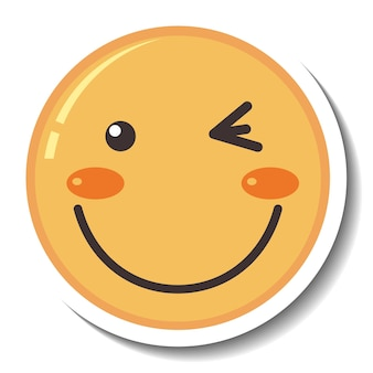 A sticker template with smile face emoji isolated