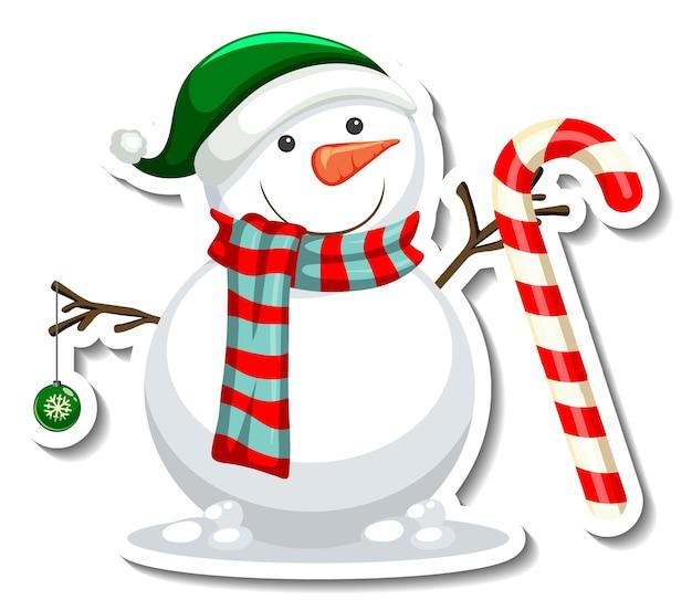Modello di adesivo con personaggio dei cartoni animati di pupazzo di neve isolato