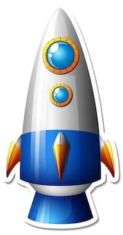 A sticker template with space ship cartoon isolated