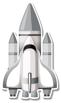Sticker template with spaceship isolated