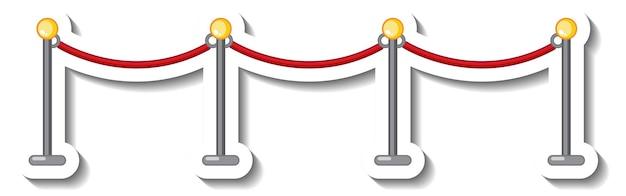 Modello di adesivo con montante e corda rossa isolata