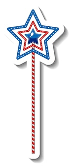 Sticker template with a star pole funfair element isolated