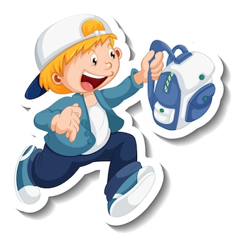 Sticker template with a student boy cartoon character isolated