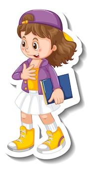 Modello di adesivo con un personaggio dei cartoni animati della ragazza dello studente isolato