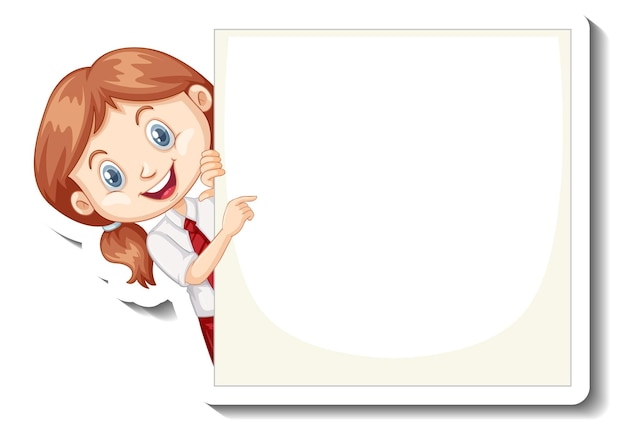 A sticker template with a student girl holding empty board