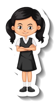 A sticker template with a student girl in school uniform