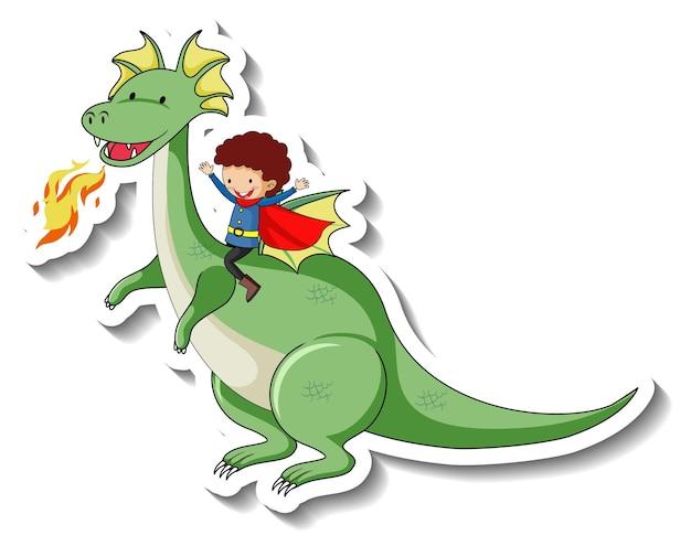 Sticker template with superhero boy riding a fantasy dragon cartoon character