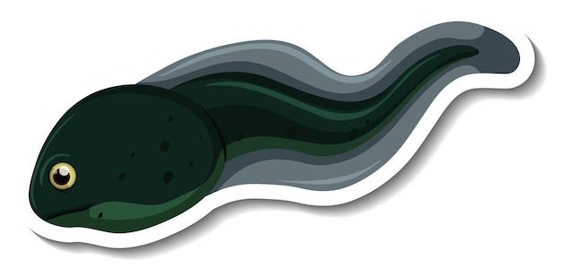 A sticker template with a tadpole isolated