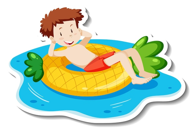Un modello di adesivo con un ragazzo adolescente sdraiato sull'anello di nuoto