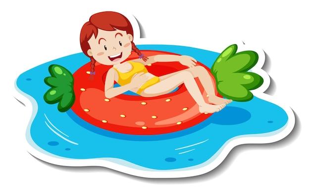 Un modello di adesivo con una ragazza adolescente sdraiata sull'anello di nuoto