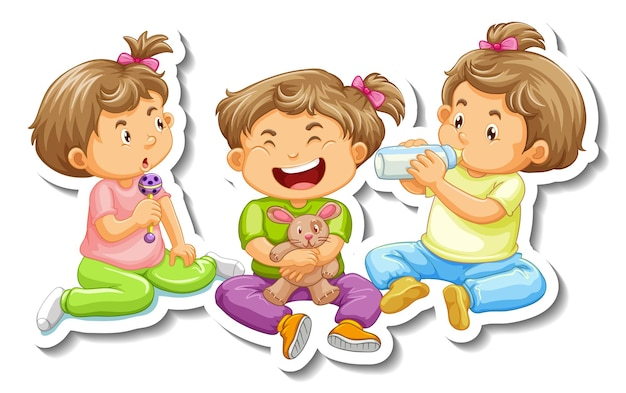 Sticker template with three baby girls cartoon character isolated